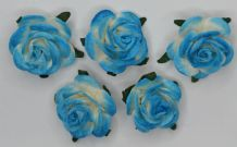 2.0cm BRIGHT TURQUOISE BLUE Mulberry Paper Roses (only flower head)
